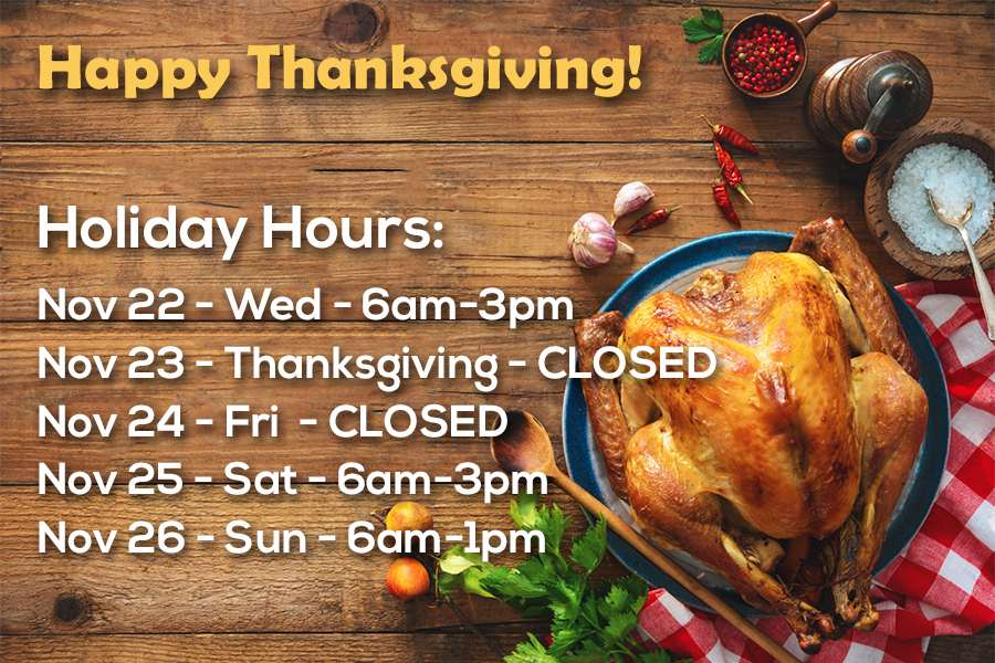 Happy Thanksgiving - Holiday week hours